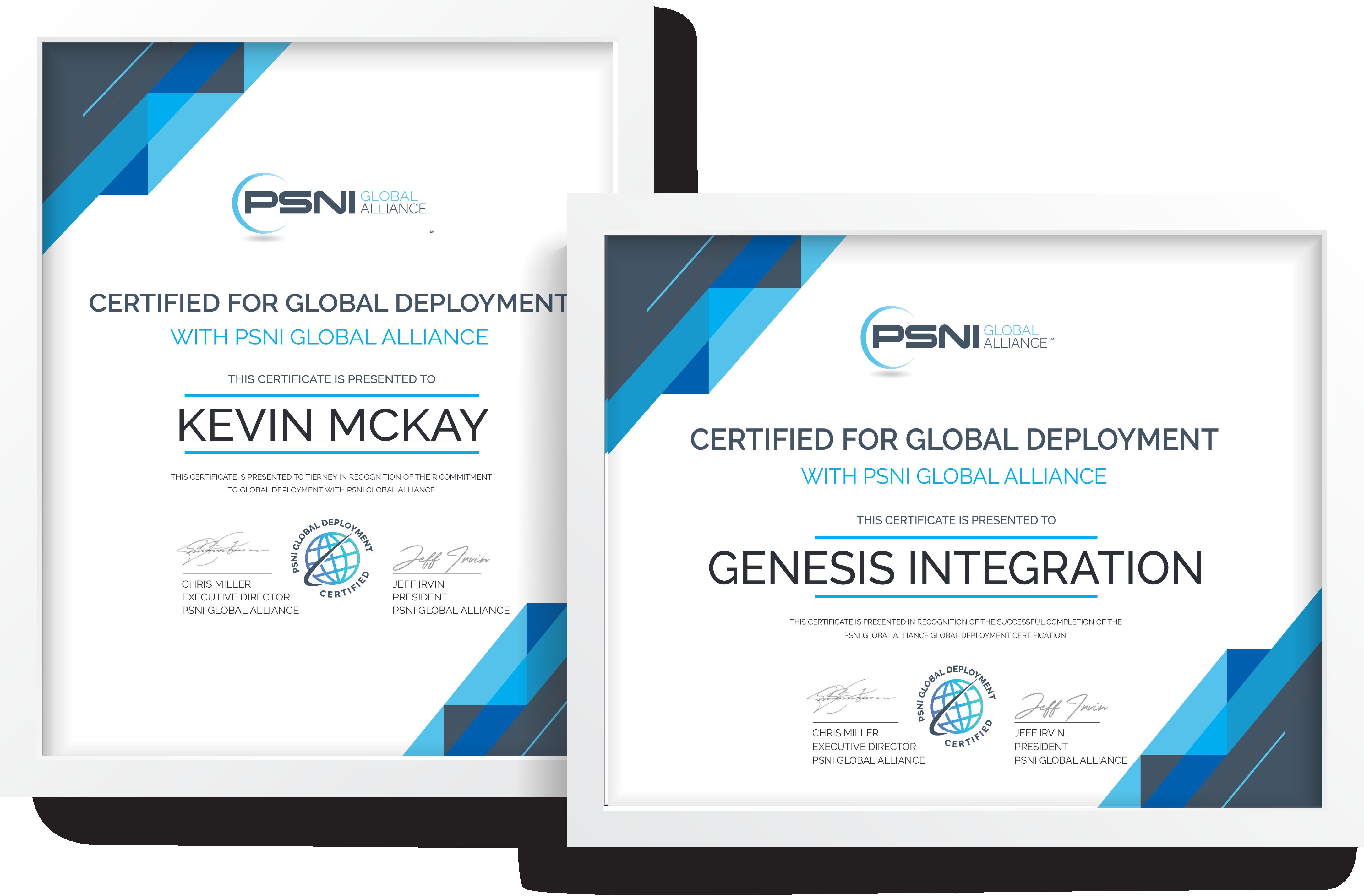 PSNI Global Cert Genesis Integration-KevinMcKay